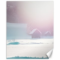 Winter Day Pink Mood Cottages Canvas 11  x 14