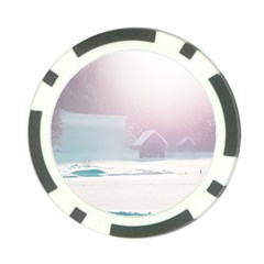 Winter Day Pink Mood Cottages Poker Chip Card Guard