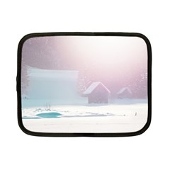 Winter Day Pink Mood Cottages Netbook Case (small)
