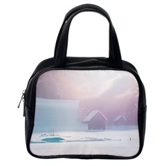 Winter Day Pink Mood Cottages Classic Handbags (one Side)