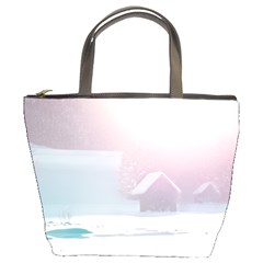 Winter Day Pink Mood Cottages Bucket Bags