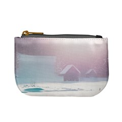 Winter Day Pink Mood Cottages Mini Coin Purses