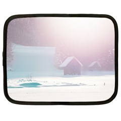 Winter Day Pink Mood Cottages Netbook Case (XL)