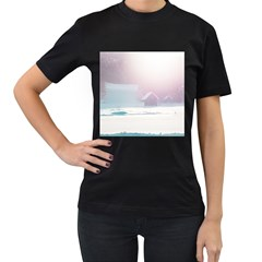 Winter Day Pink Mood Cottages Women s T-Shirt (Black)