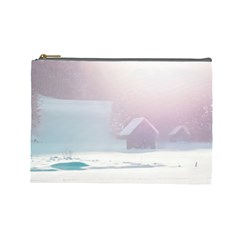 Winter Day Pink Mood Cottages Cosmetic Bag (large)
