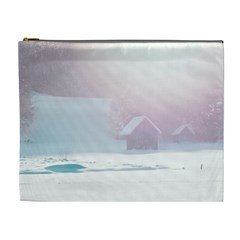 Winter Day Pink Mood Cottages Cosmetic Bag (XL)
