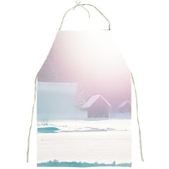 Winter Day Pink Mood Cottages Full Print Aprons