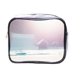 Winter Day Pink Mood Cottages Mini Toiletries Bags