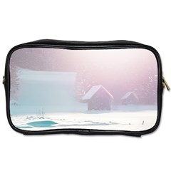 Winter Day Pink Mood Cottages Toiletries Bags