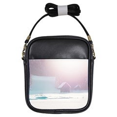 Winter Day Pink Mood Cottages Girls Sling Bags