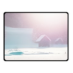 Winter Day Pink Mood Cottages Fleece Blanket (Small)
