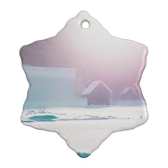 Winter Day Pink Mood Cottages Snowflake Ornament (two Sides)