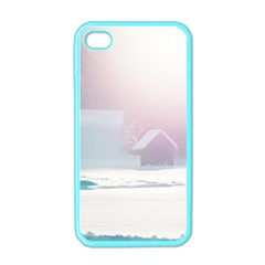 Winter Day Pink Mood Cottages Apple iPhone 4 Case (Color)