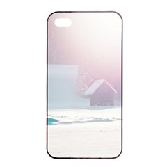 Winter Day Pink Mood Cottages Apple Iphone 4/4s Seamless Case (black)