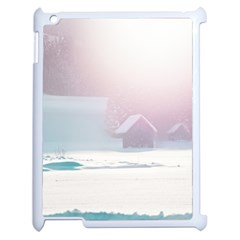Winter Day Pink Mood Cottages Apple iPad 2 Case (White)