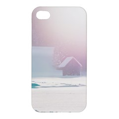 Winter Day Pink Mood Cottages Apple Iphone 4/4s Hardshell Case