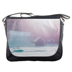 Winter Day Pink Mood Cottages Messenger Bags