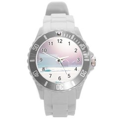 Winter Day Pink Mood Cottages Round Plastic Sport Watch (l)