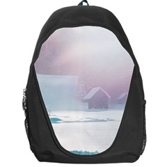 Winter Day Pink Mood Cottages Backpack Bag