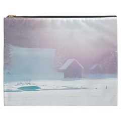 Winter Day Pink Mood Cottages Cosmetic Bag (XXXL)