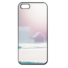 Winter Day Pink Mood Cottages Apple iPhone 5 Seamless Case (Black)