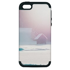 Winter Day Pink Mood Cottages Apple Iphone 5 Hardshell Case (pc+silicone)