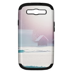 Winter Day Pink Mood Cottages Samsung Galaxy S III Hardshell Case (PC+Silicone)