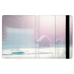 Winter Day Pink Mood Cottages Apple Ipad 3/4 Flip Case