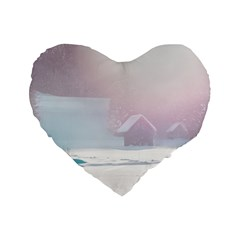 Winter Day Pink Mood Cottages Standard 16  Premium Heart Shape Cushions