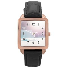 Winter Day Pink Mood Cottages Rose Gold Leather Watch
