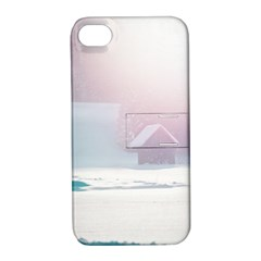 Winter Day Pink Mood Cottages Apple iPhone 4/4S Hardshell Case with Stand