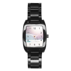 Winter Day Pink Mood Cottages Stainless Steel Barrel Watch