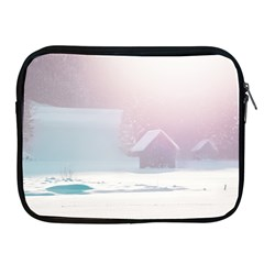 Winter Day Pink Mood Cottages Apple Ipad 2/3/4 Zipper Cases
