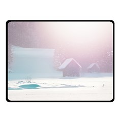 Winter Day Pink Mood Cottages Double Sided Fleece Blanket (small)