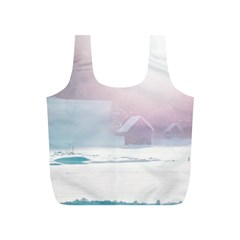 Winter Day Pink Mood Cottages Full Print Recycle Bags (S)