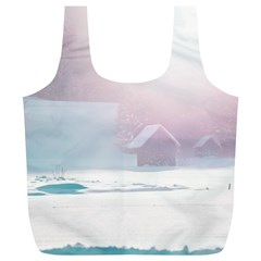 Winter Day Pink Mood Cottages Full Print Recycle Bags (l)