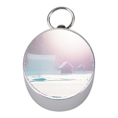 Winter Day Pink Mood Cottages Mini Silver Compasses