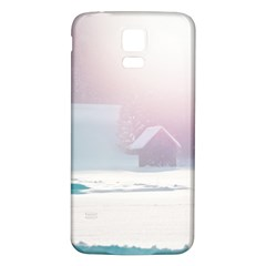 Winter Day Pink Mood Cottages Samsung Galaxy S5 Back Case (White)