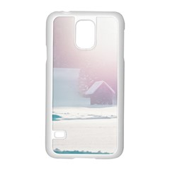 Winter Day Pink Mood Cottages Samsung Galaxy S5 Case (white)