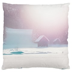 Winter Day Pink Mood Cottages Standard Flano Cushion Case (Two Sides)