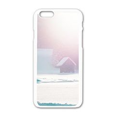 Winter Day Pink Mood Cottages Apple Iphone 6/6s White Enamel Case