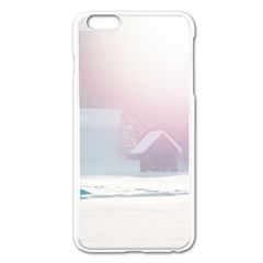 Winter Day Pink Mood Cottages Apple iPhone 6 Plus/6S Plus Enamel White Case