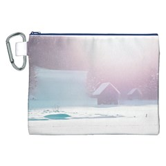Winter Day Pink Mood Cottages Canvas Cosmetic Bag (XXL)