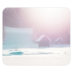 Winter Day Pink Mood Cottages Double Sided Flano Blanket (small)