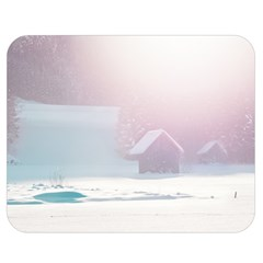 Winter Day Pink Mood Cottages Double Sided Flano Blanket (medium)