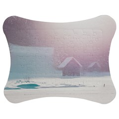 Winter Day Pink Mood Cottages Jigsaw Puzzle Photo Stand (bow)