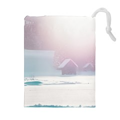 Winter Day Pink Mood Cottages Drawstring Pouches (extra Large)