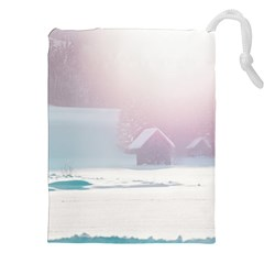 Winter Day Pink Mood Cottages Drawstring Pouches (xxl)
