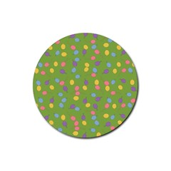 Balloon Grass Party Green Purple Rubber Coaster (round)