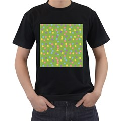 Balloon Grass Party Green Purple Men s T-Shirt (Black) (Two Sided)